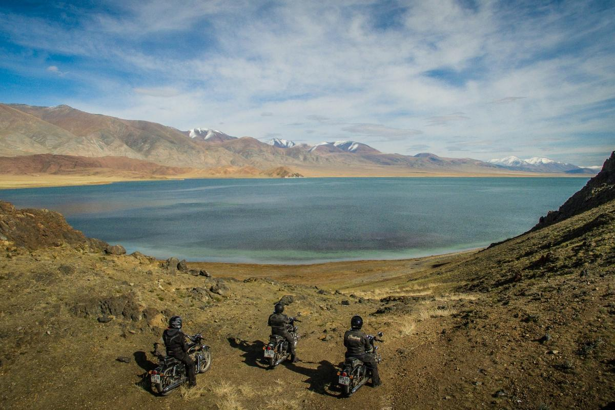 Riders overlook Lake Tolbo in Western Mongolia ... as shot by the Phantom 3 Professional