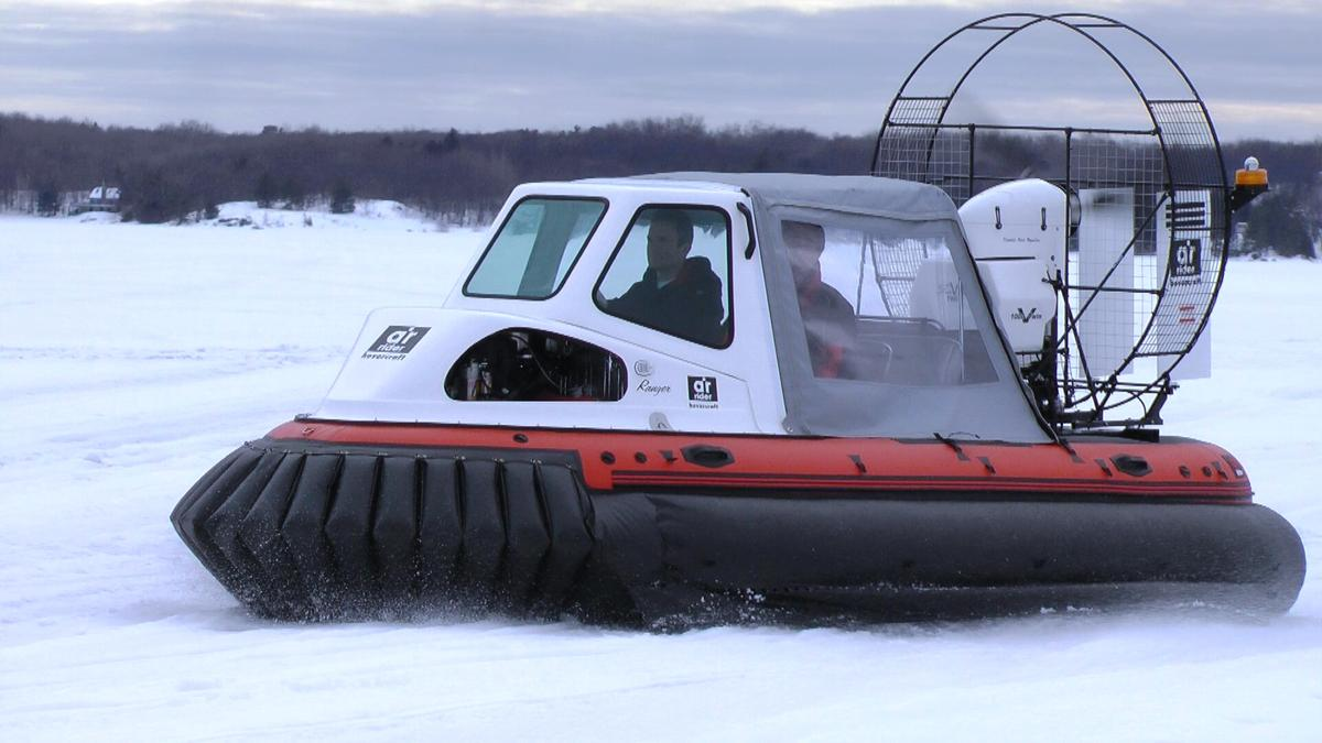 The AirRider hovercraft in snow conditions with weather canopy