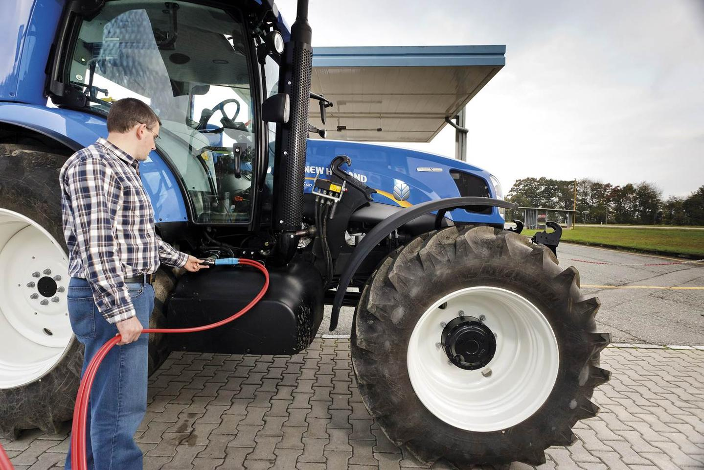 The nine methane tanks on the New Holland T6 hold enough fuel for half a day's work