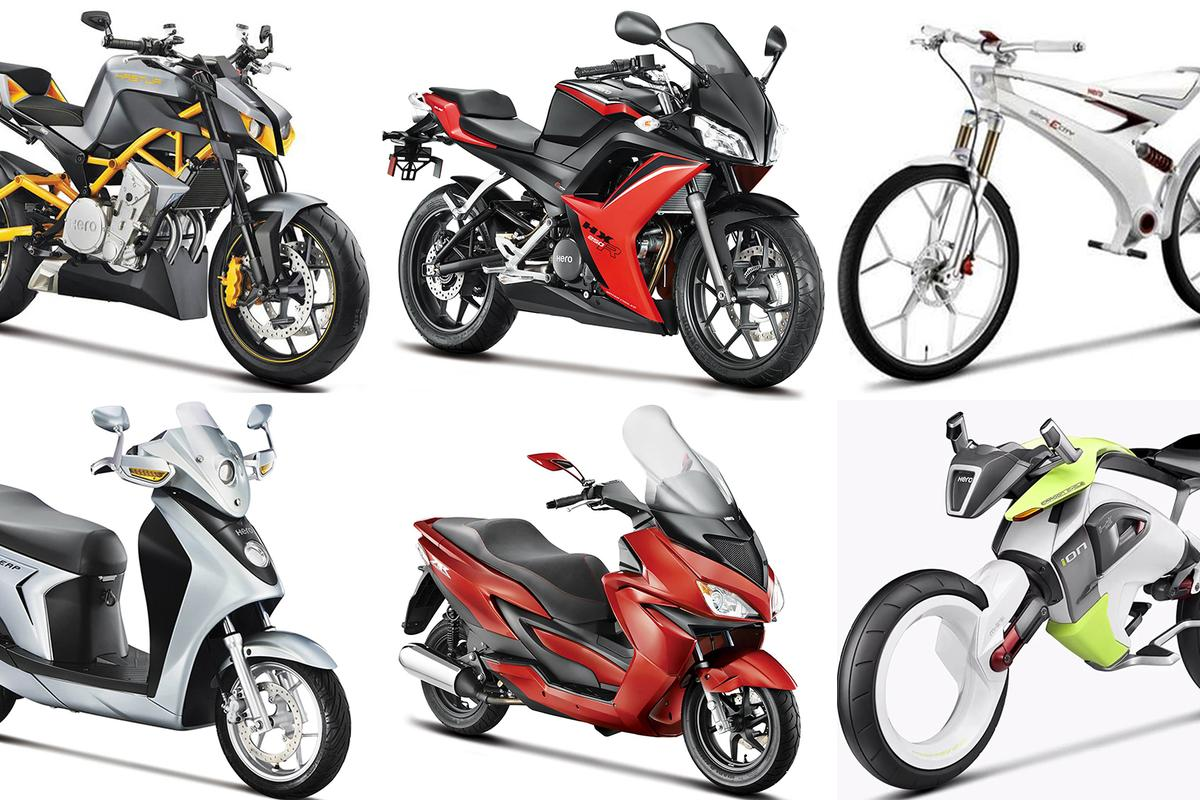 "Clockwise from top left: The featherweight Hastur 620cc Streetfighter; lightweight 250cc HX250R sports bike; 35 kg SimplECity urban electric motorcycle; 100 kg ""ion"" fuel cell prototype with two-wheel-drive, hubless maglev wheels, collision detection & avoidance, telematics, Lithium-Air batteries and futuristic M-Link suspension; ZIR superscooter; LEAP Serial hybrid scooter, world's most fuel-efficient scooter with 200 mpg (U.S.) and 240 mpg (imp) PLUS electric. Not pictured is the RNT hybrid turbo-diesel-electric prototype we covered last week. Exciting times indeed!"