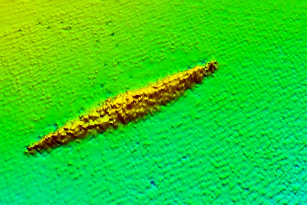 Survey data showing HMAS AE1 on the sea bed