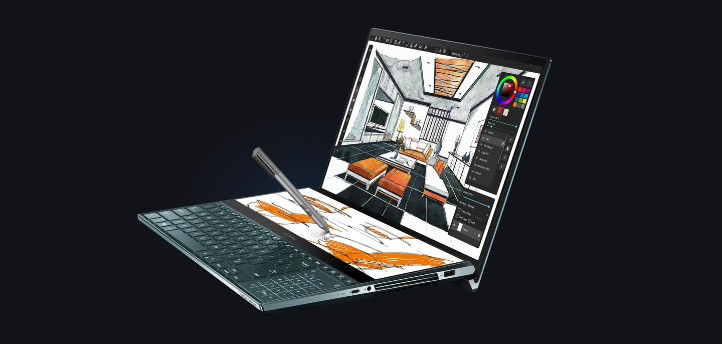 The ScreenPad Plus allows creatives to zoom in on part of an image for touch ups, while displaying the full image on the main screen