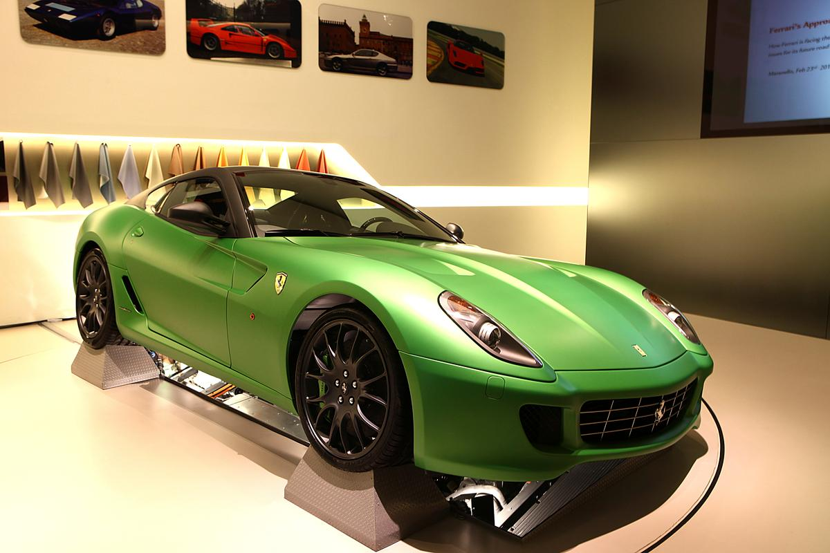 The Ferrari hybrid concept 599 HY-KERS on display at the Geneva Motor Show
