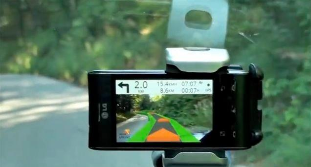 The Wikitude Drive augmented reality navigation app overlays directional markers on real-time video of the road in front of you