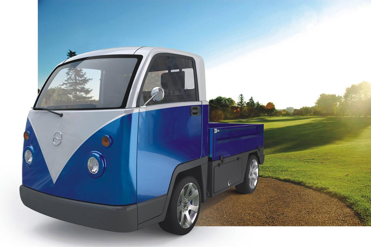 Designed for transporting light cargo, the Kombi EV has a range of 50 miles (80.5 km) on a single charge