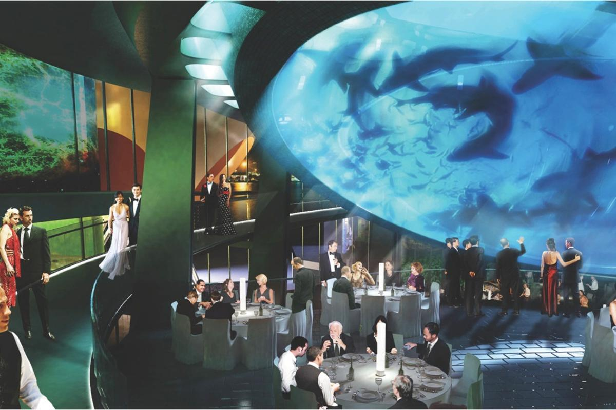 The Gulf Stream Tank aquarium will form the centerpiece of the new Patricia and Phillip Frost Museum of Science