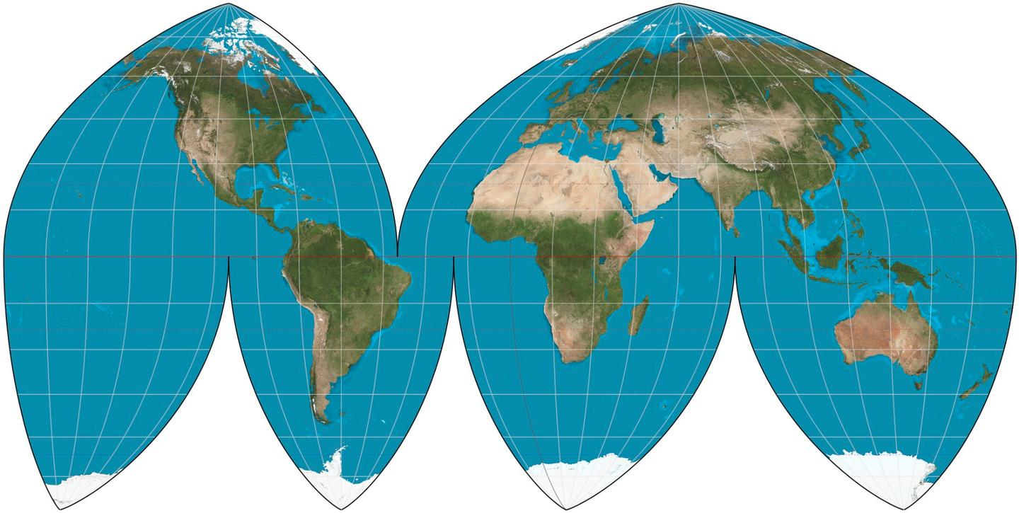 The Boggs Eumorphic projection chops up something similar to the Mollweide projection in order to keep North upward as well as having correct proportions