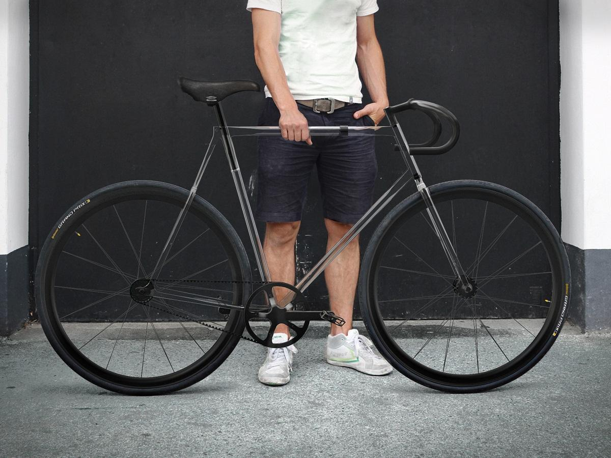 Clarity Bike features a frame made from Trivex, a polymer with positive properties