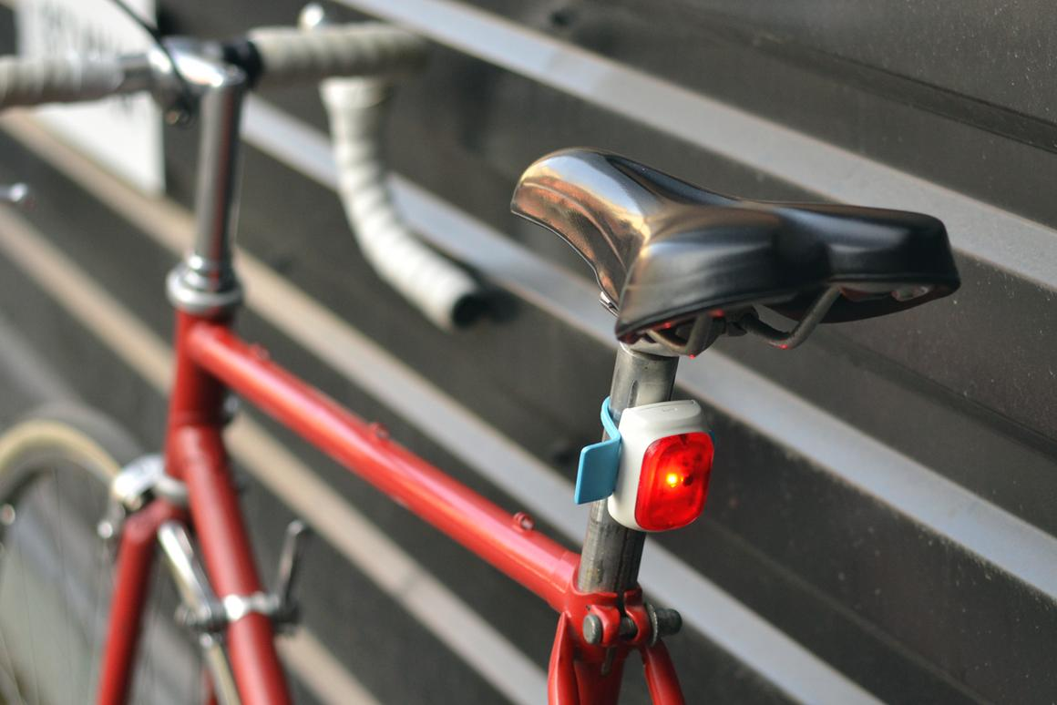 The Velodroom bicycle tail light automatically turns on and off, adjusts its brightness, and doubles as a brake light