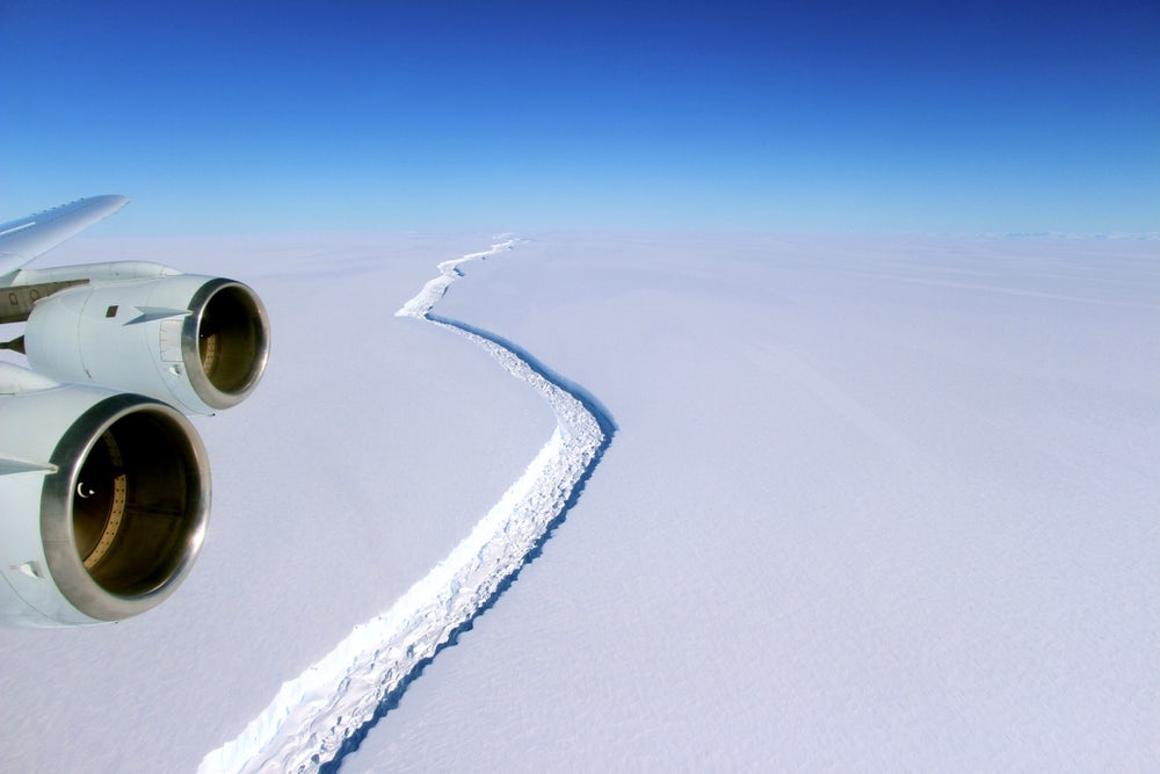 An aerial view of the crack in the Larsen C ice shelf, which is due to soon break off into one of the largest icebergs ever recorded