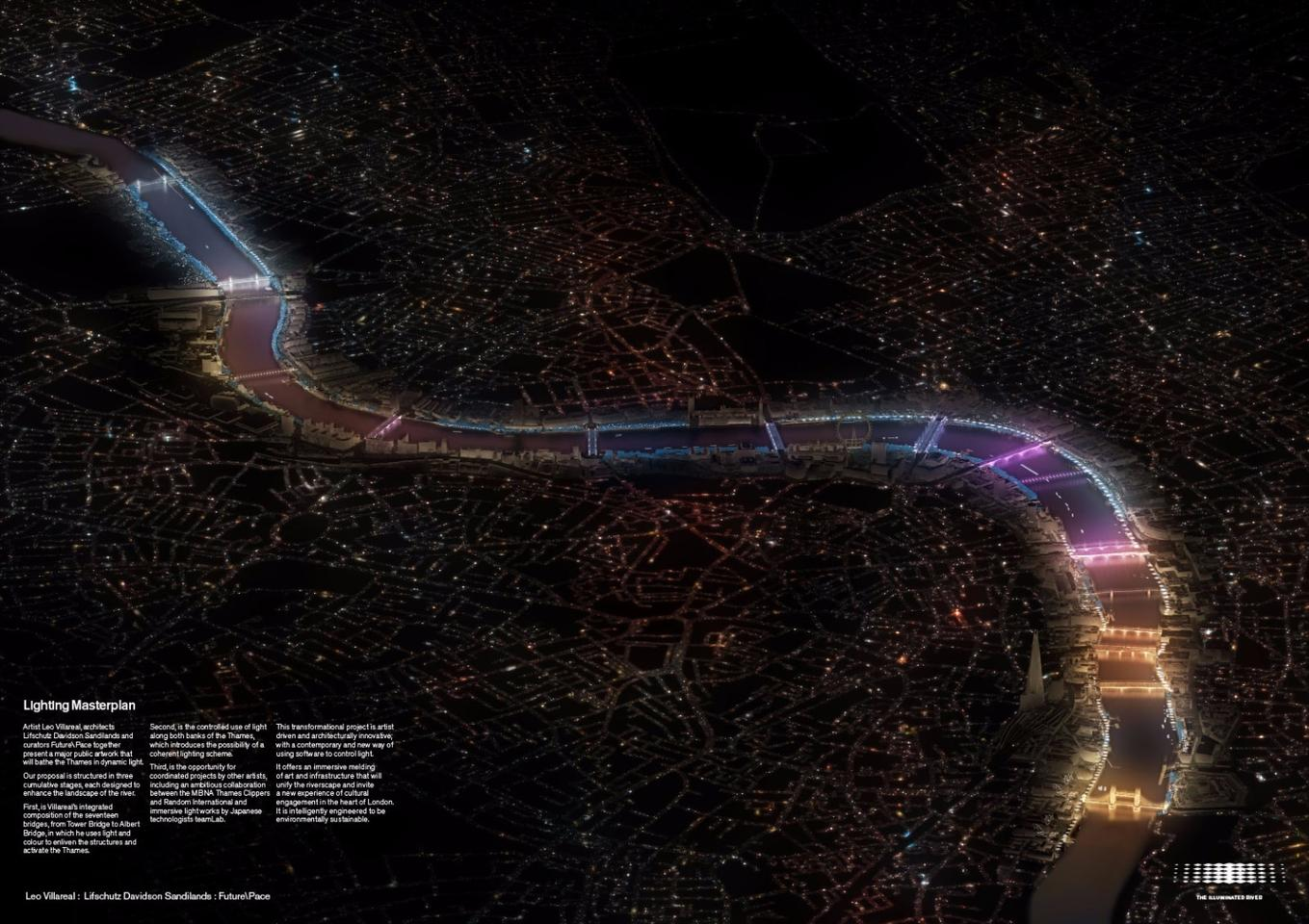 """Leo Villareal's""""Current"""" concept will see 17 bridges along London's River Thames lit up withcolorful LED lighting"""