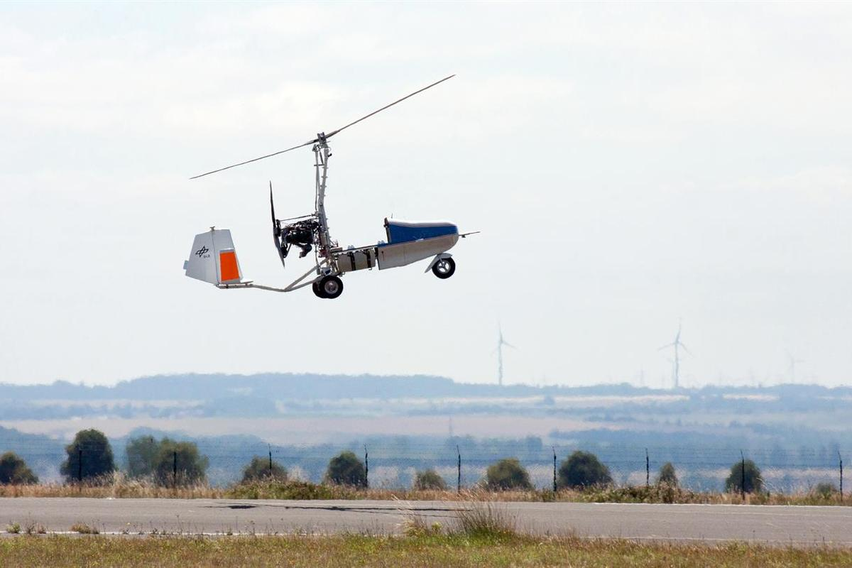 The drone gyrocopter takes to the air overCochstedt Airport, Germany