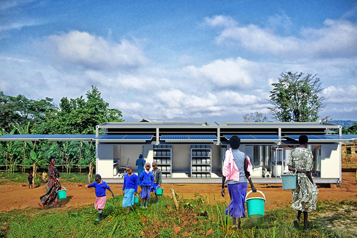 PowerCube is deployed as a shipping container and morphs into a power stations, communications base and water treatment plant with the push of a button
