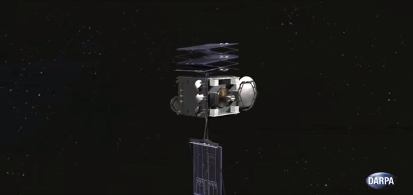 The DARPA RSV is designed to repair damaged satellites, such as this one with a stuck solar panel