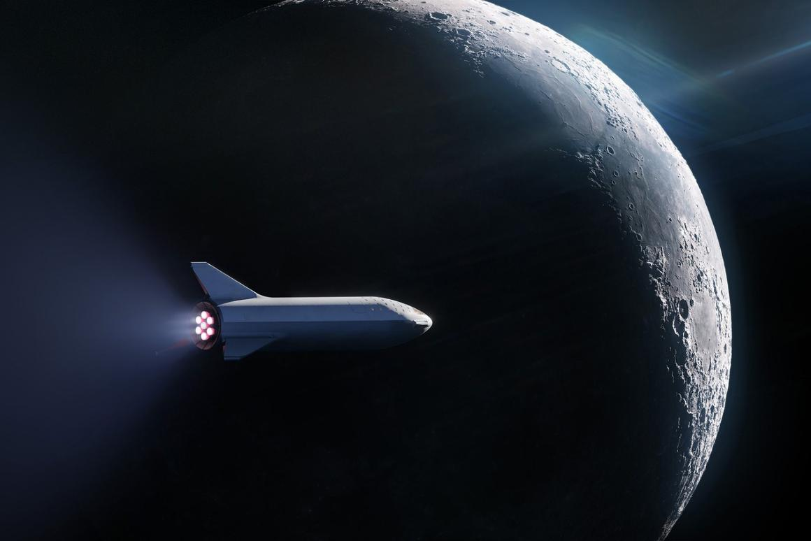 Image of the new BFR en route to the Moon