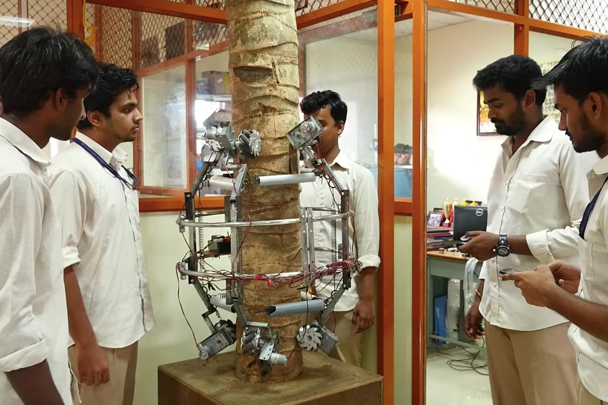 The Amaran robot is placed around a tree trunk in the lab