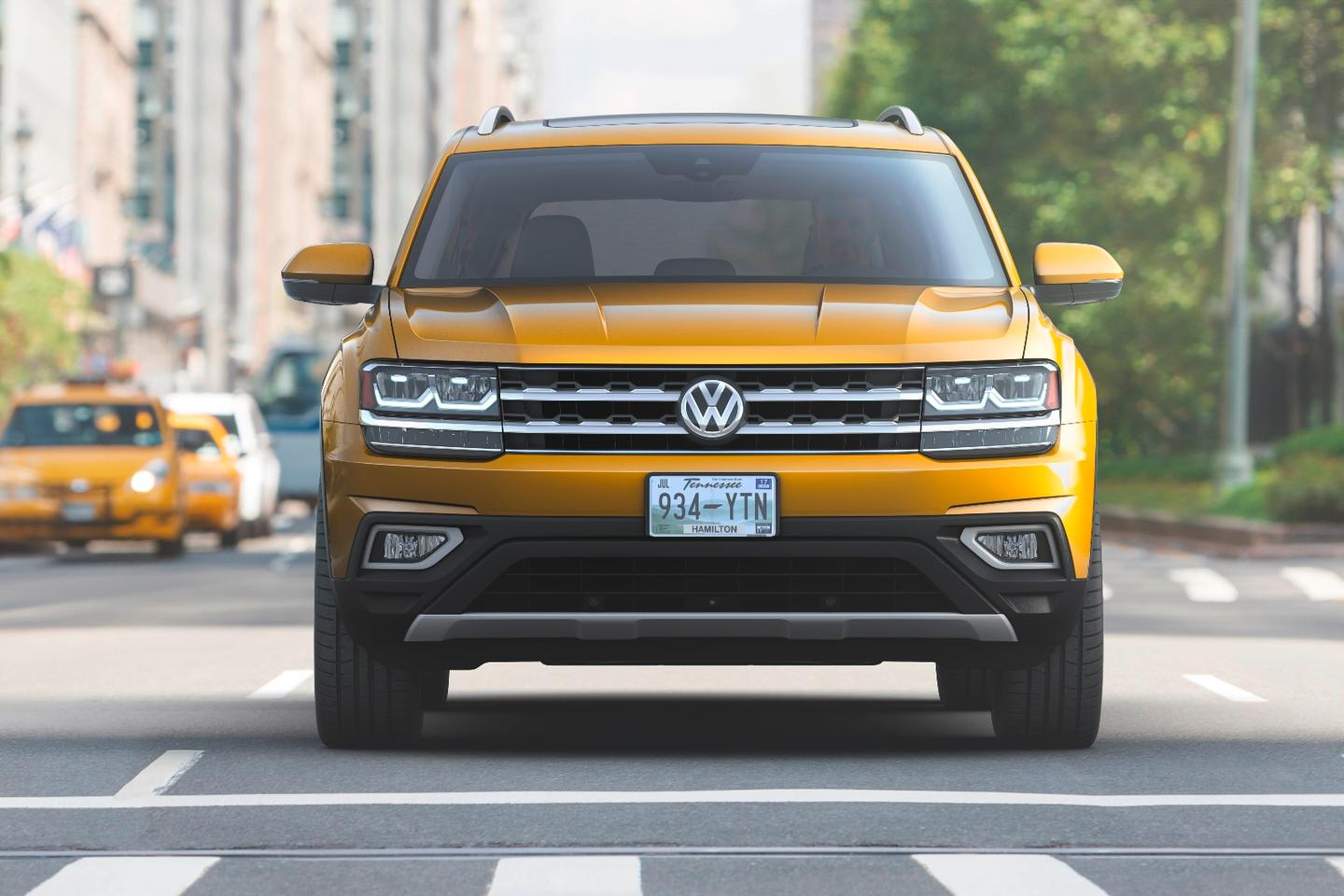 A thin, sport-minded grille marks all current-generation Volkswagen models including the upcoming 2018 Atlas
