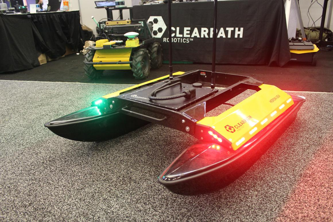 The carbon fiber-bodied Heron USV on display in Montreal, at ICRA 2019
