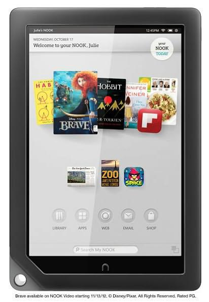 NOOK HD+ from the front with its new interface