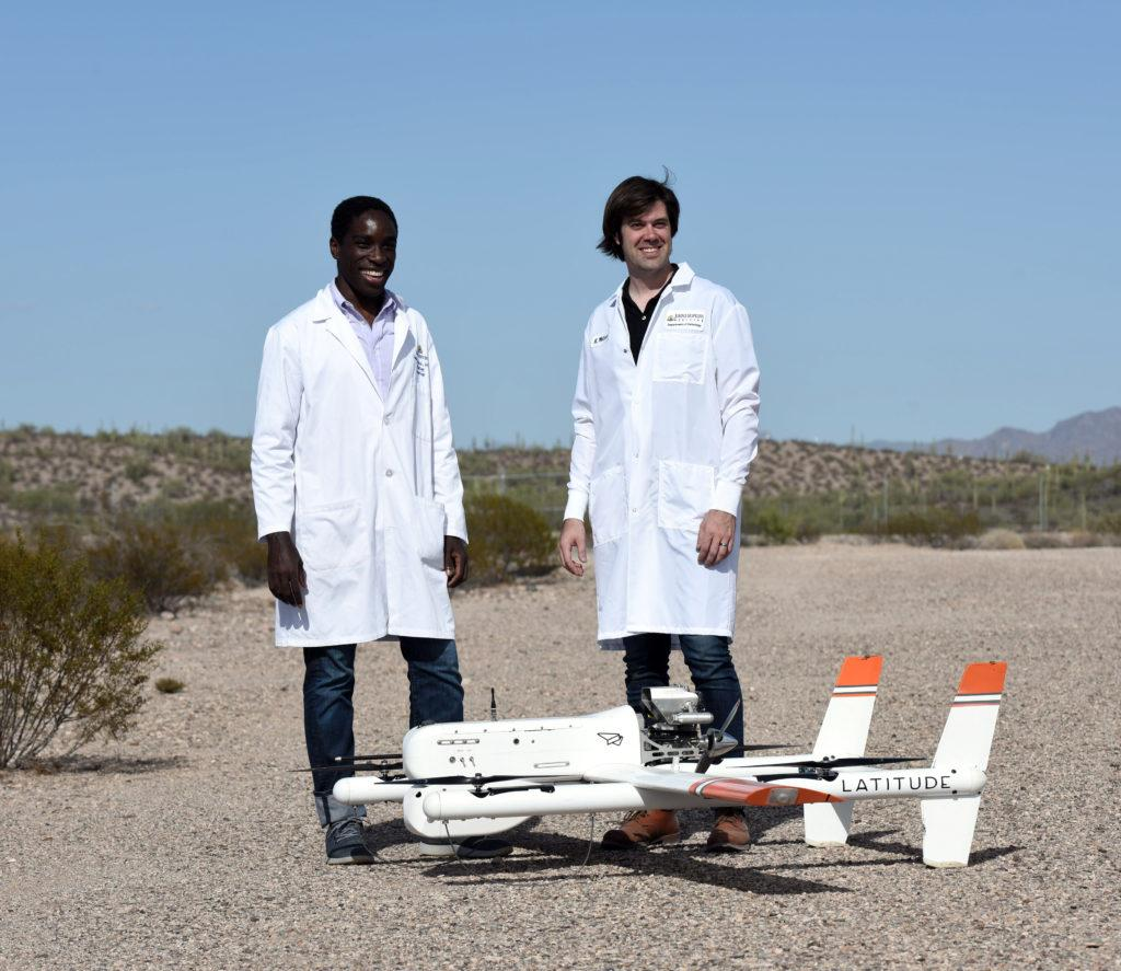 Dr. Timothy Amukele andJeff Street, with the drone
