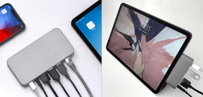 Unlike other USB-C hubs, DoBox Mini is a truly wireless solution that works with all iPads and even with iPhones with iOS 10 / 11 / 12