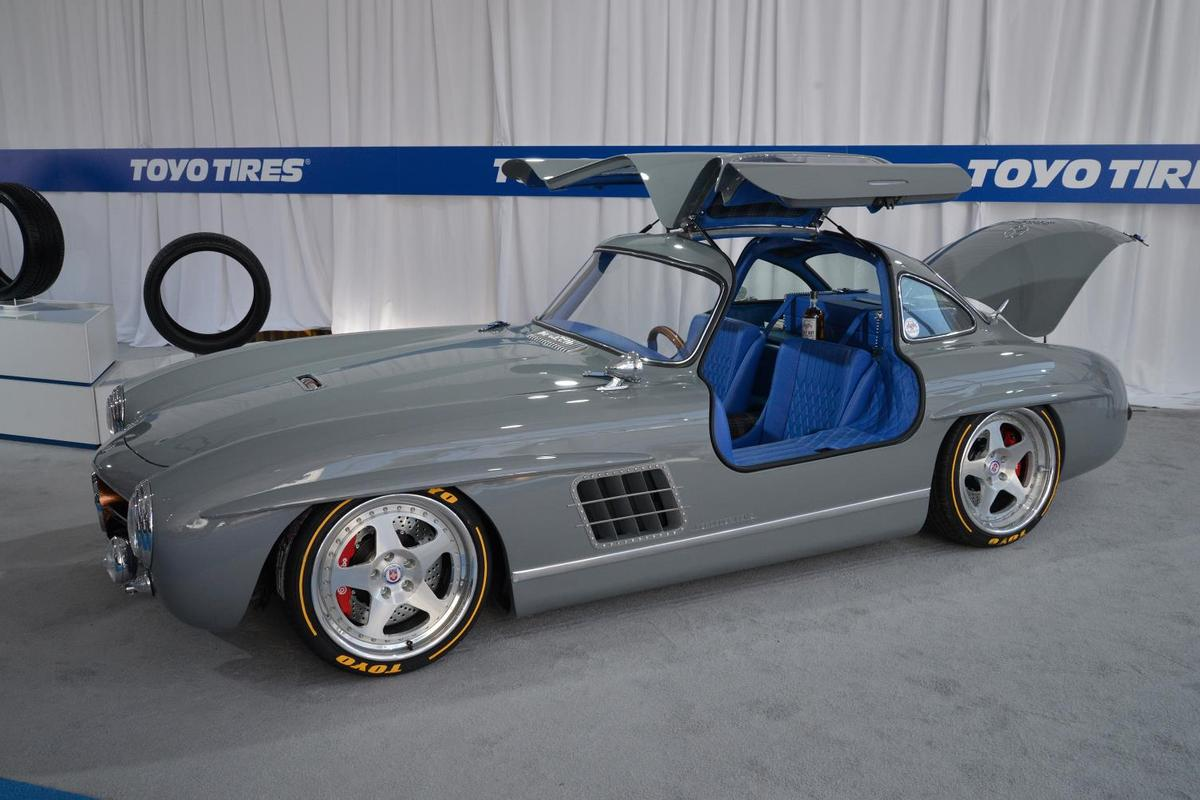 What looks like a simple classic Mercedes-Benz 300 SL is actually a 1955 gullwing body atop a modern SLK32 chassis