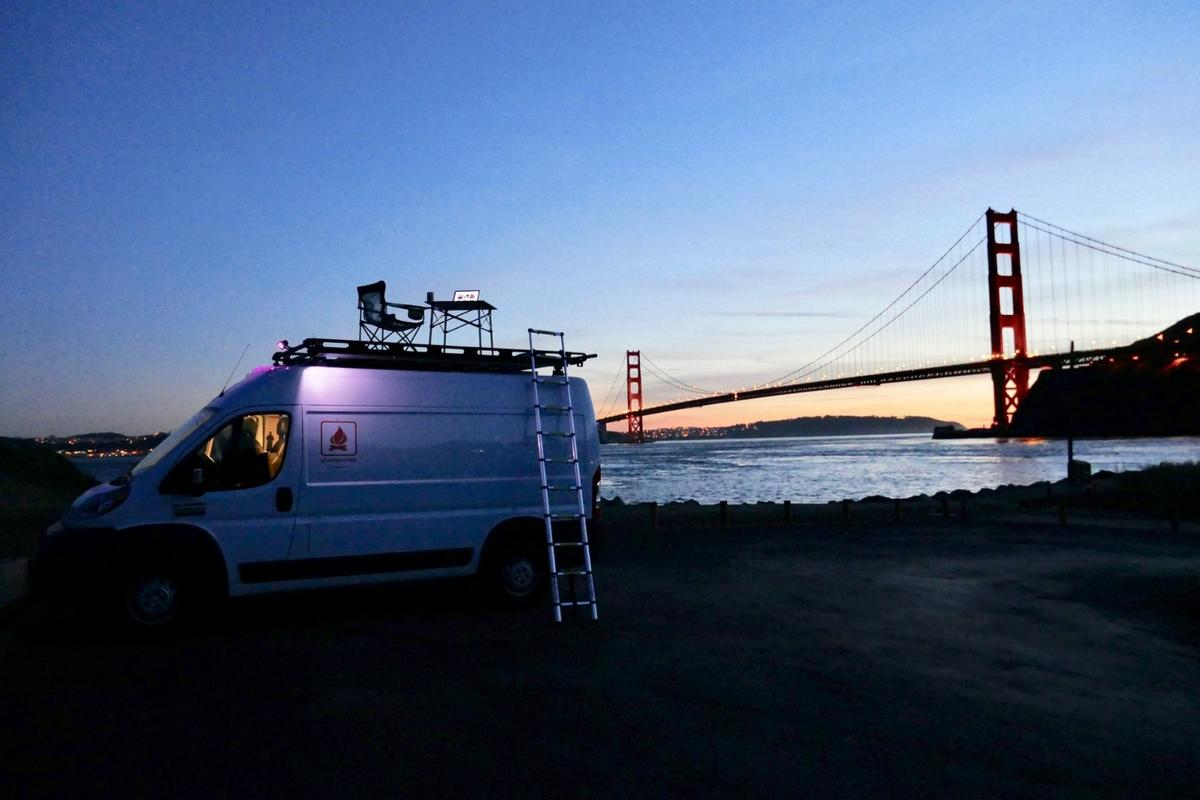 The Glampervan Promaster MUVis a smart, compact camper van with a roof deck for scenic relaxation