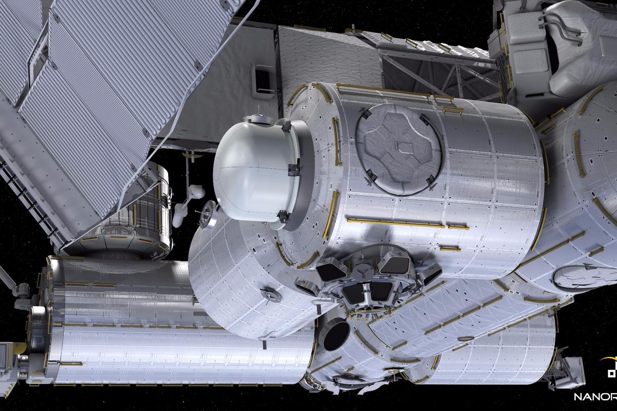 Rendering showing theNanoRacks Airlock Module installed on the ISS