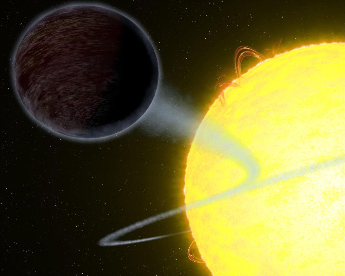 An artist's impression of the strange, super-hot, light-eating exoplanet WASP-12b
