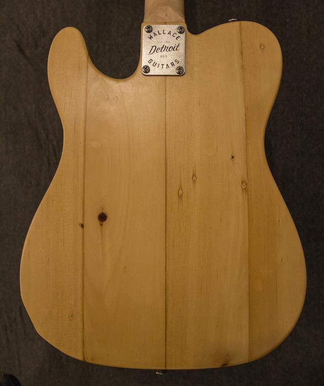 The body of this Telecaster-shaped Firehouse Series guitar is made from reclaimed maple floorboards