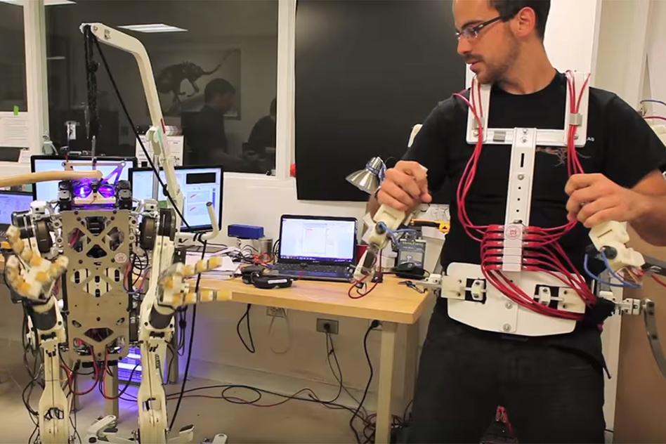 The vest provides force feedback between the operator and robot