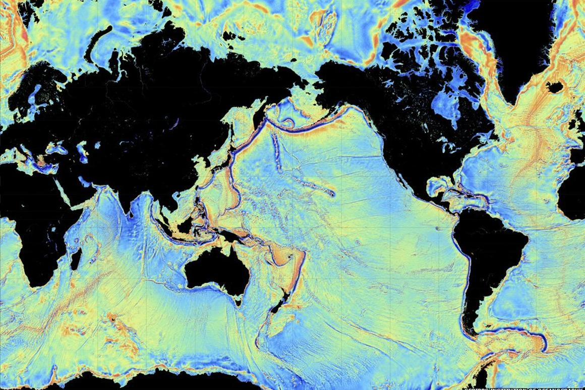 A new map of the seafloor is twice as accurate as the previous version (Image: David Sandwell, Scripps Institution of Oceanography, UC San Diego)