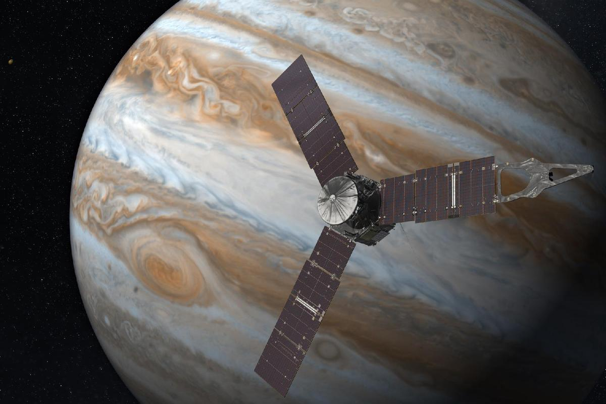 Artist's rendering of Juno orbiting Jupiter