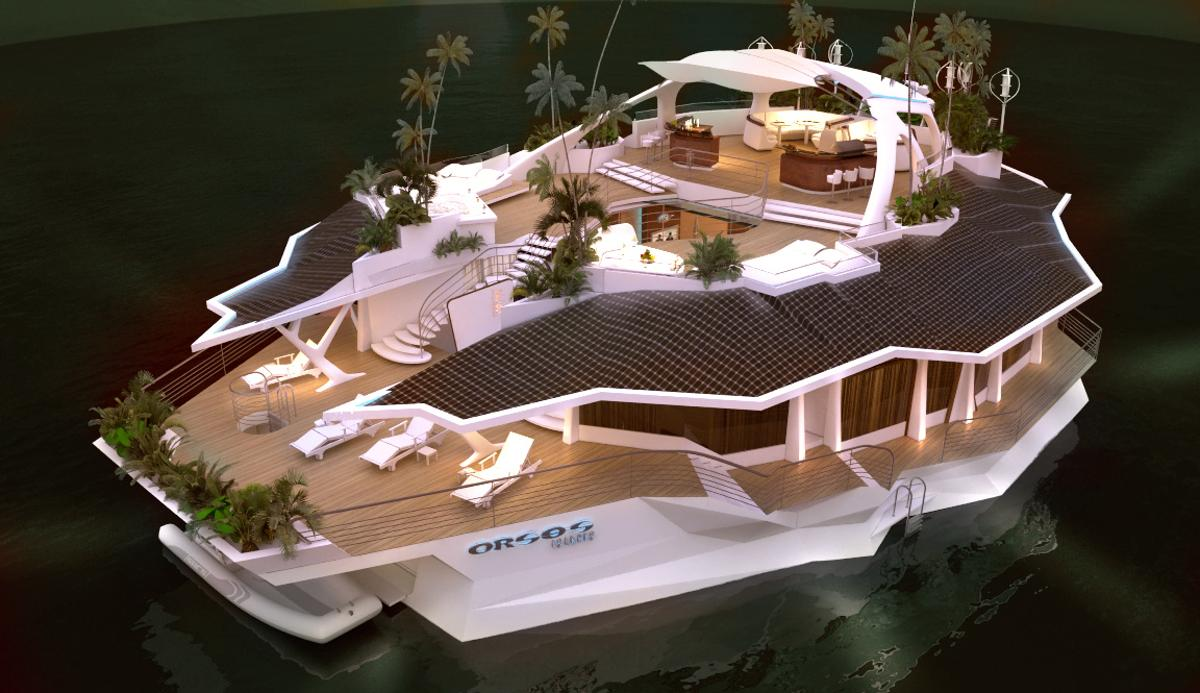 Orsos Island is 20 meters wide and 37 meters long, with 1,000 m² of living space available