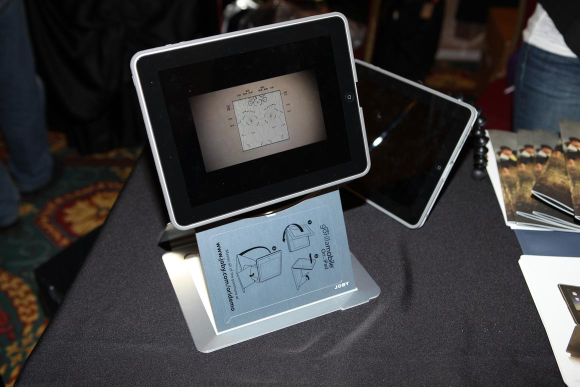 One of the display orientations offered by the fiendishly clever Joby Ori iPad stand
