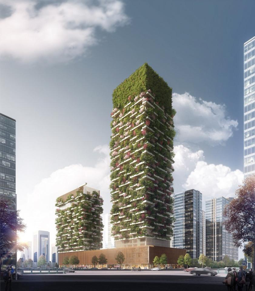 The Nanjing Vertical Forest towerswill reach heights of108 m (354 ft) and200 m (656 ft)