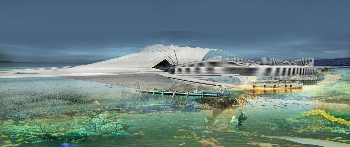 The Recycled Ocean Plastic Resort would float and would be anchored securely to the ocean floor