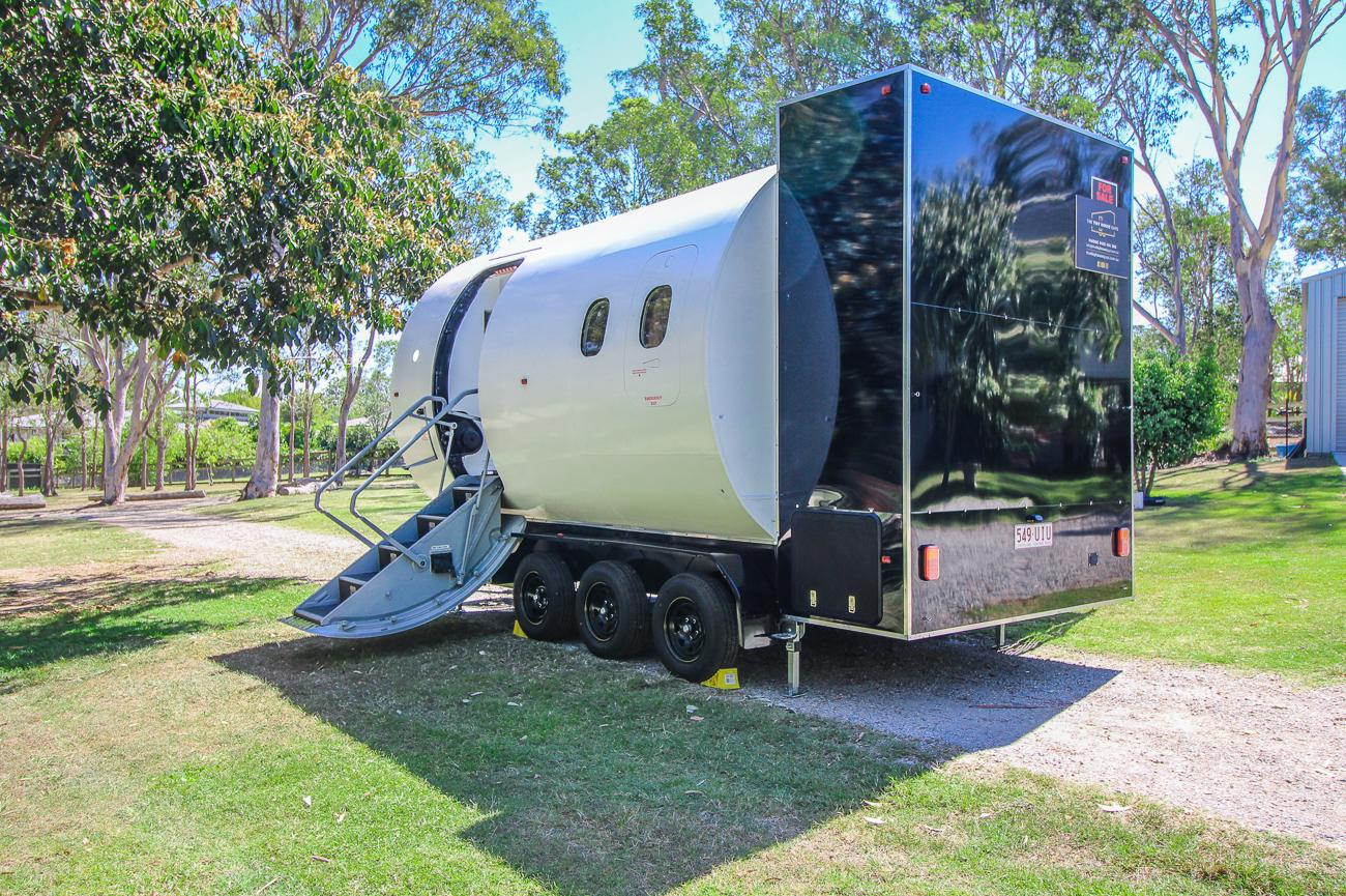 The Aero Tiny came about when The Tiny House Guys saw decommissioned training equipment used by a cabin crew training facility in Brisbane up for sale
