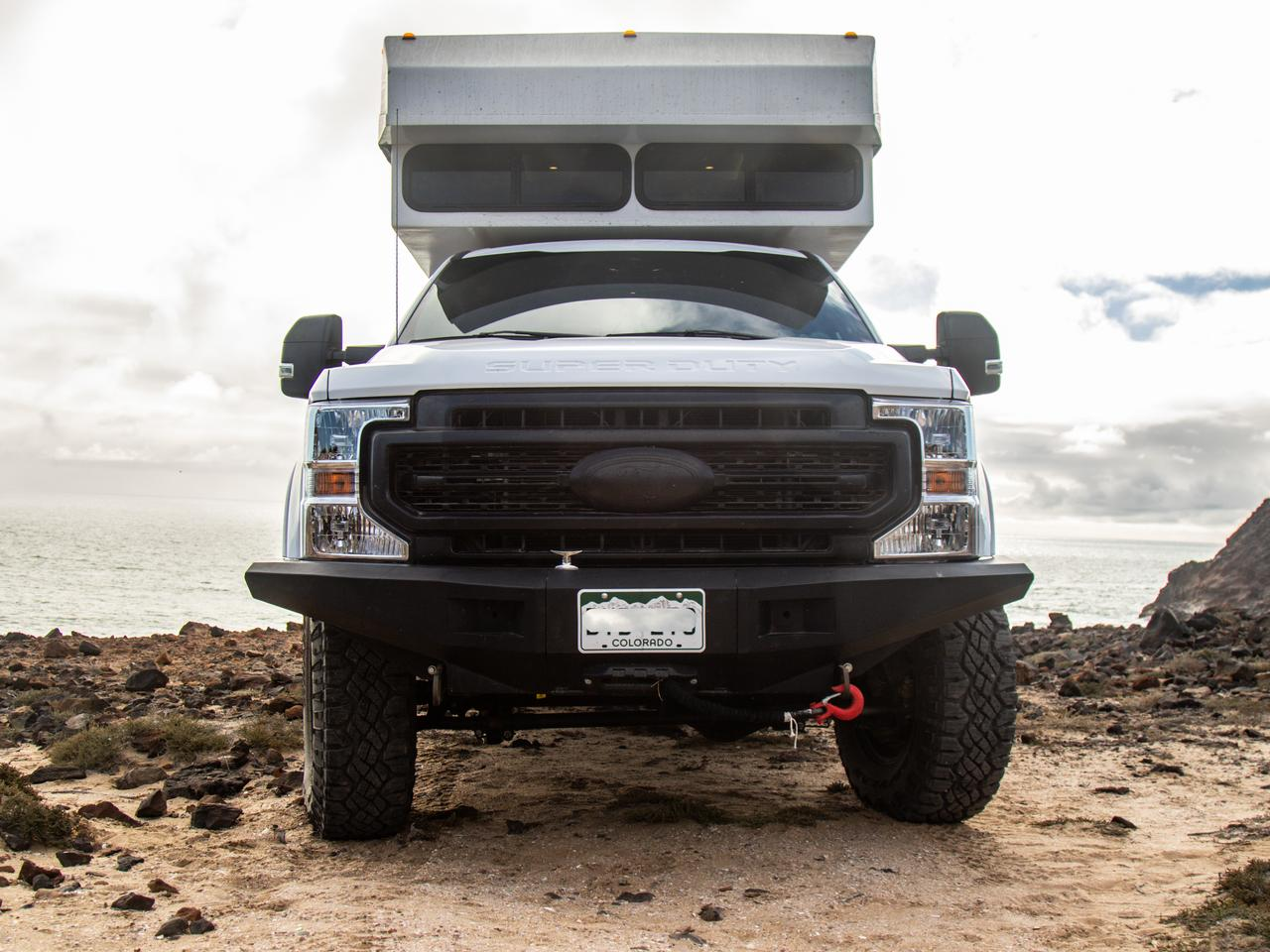 The front bumper also brings a Warn winch