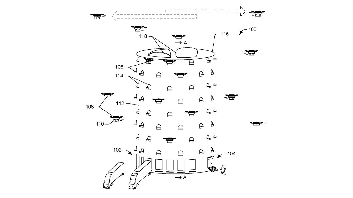 This cylindrical hive is Amazon's vision of a UAV delivery center, where trucks can deliver loads of items for aerial last-mile delivery by swarms of multicopter drones