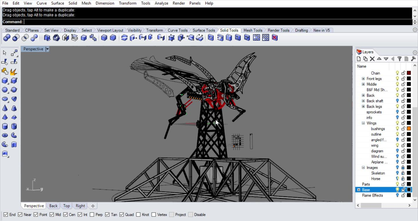 Wings of Glory was designed using the Rhino 3D CAD system