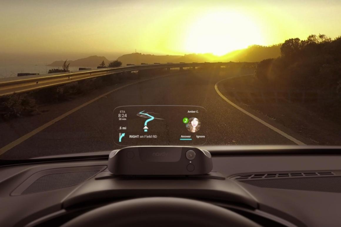 The Navdy head up display lets you continue to view your navigation while also taking or making calls or choosing music