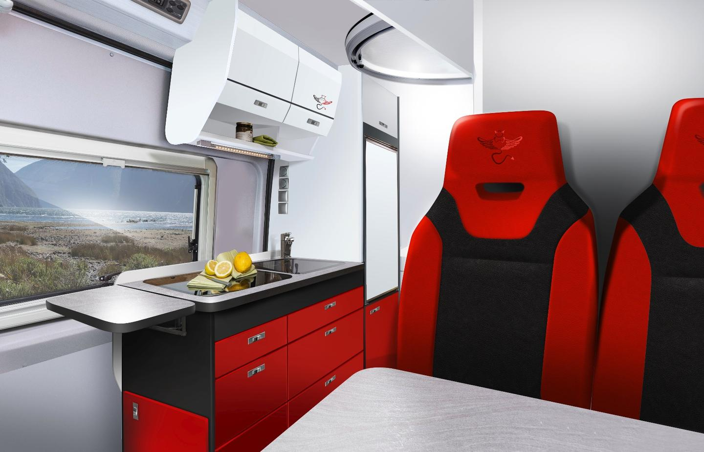 The VWCrafter Saint & Sinnerfeatures an expandablebench and dining table toward the front of the cabin