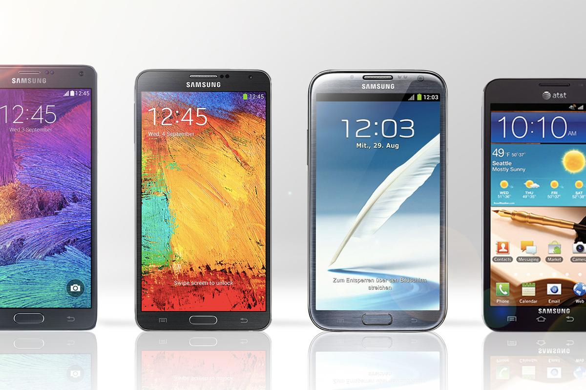 Gizmag compares the features and specs of the Galaxy Notes 1-4