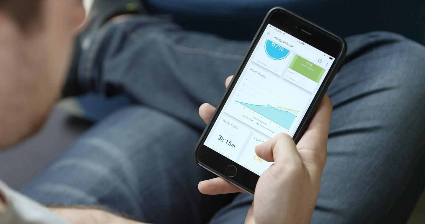 TheGrobo mobileapp is designed to show current water and nutrient levels, plant height,estimated harvest time, and more