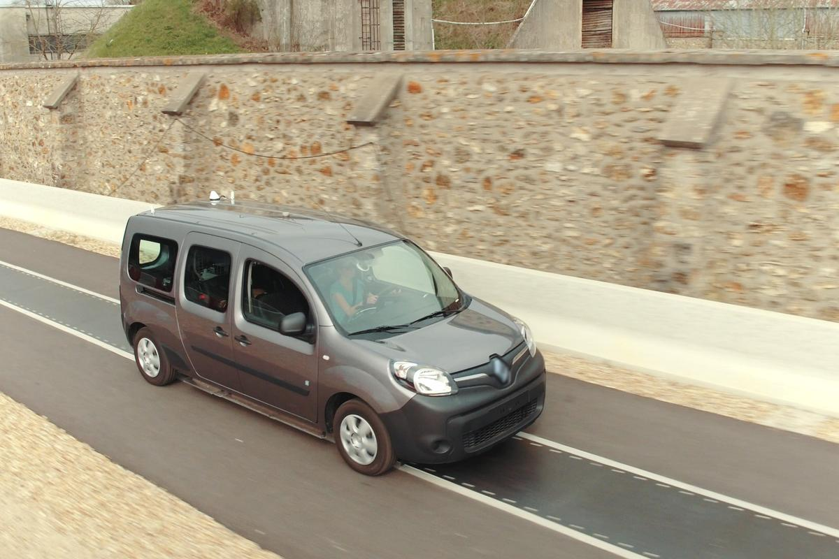 A specially-outfitted Renault Kangoo ZE travels along the test track