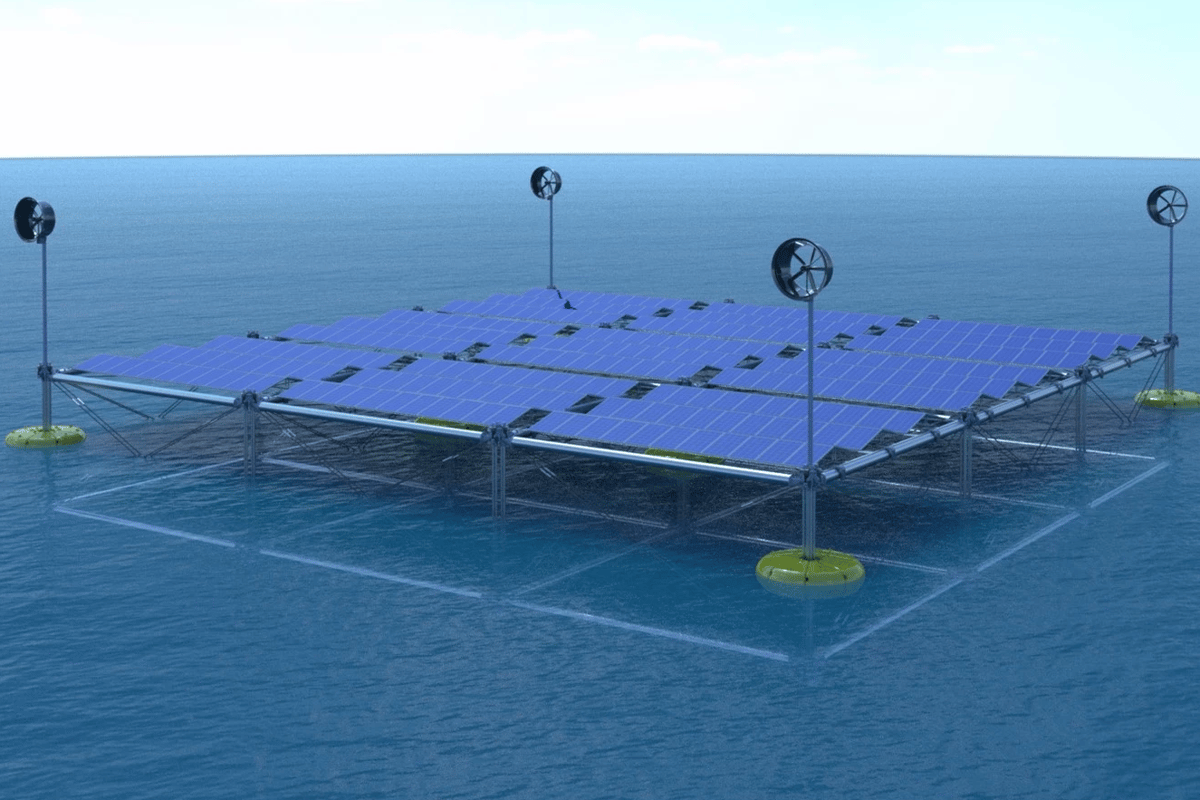 A floating renewable power platform that harvests wind, solar and wave power