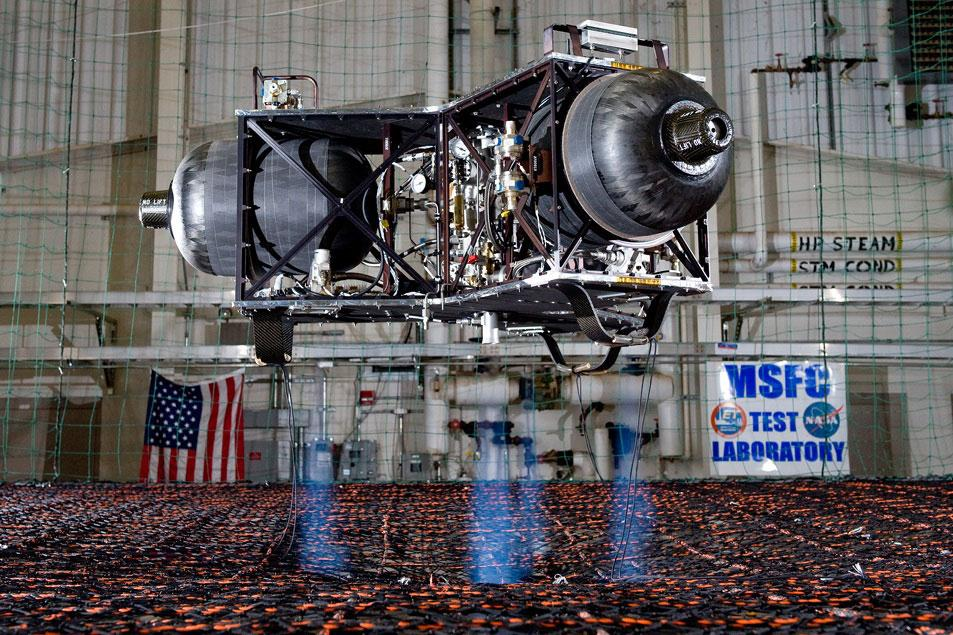 The first version of the lander used compressed air (Photo: David Higginbotham, NASA Marshall )