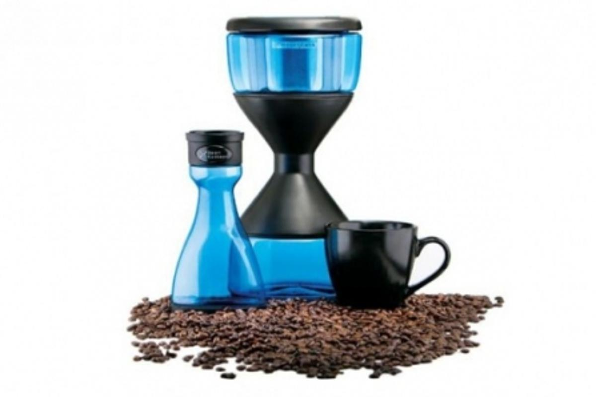 The Hourglass coffee brewer infuses coffee beans overnight to produce a less acidic coffee extract