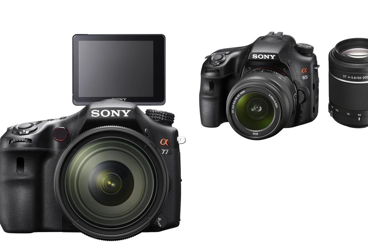 Sony has revealed details of its new flagship SLT-A77 and consumer-level SLT-A65 digital cameras